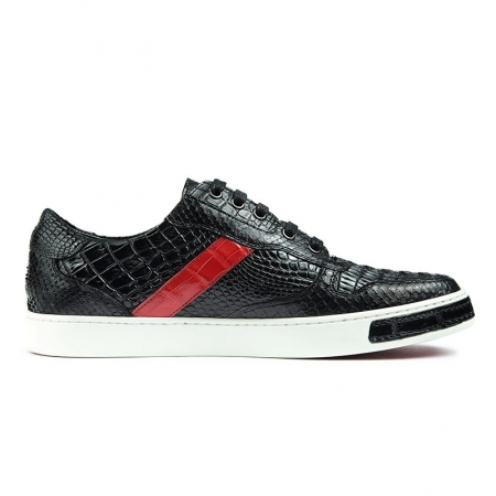 Men's Daily Fashion Crocodile Skin Sneakers-With a Red Stripe-Side