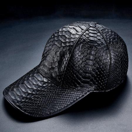Python Skin Baseball Cap-Black