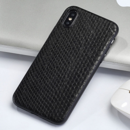 Snakeskin iPhone X Case-Black
