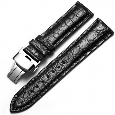 Alligator Leather Bands Straps for iWatch - Black color with Silver Adapter