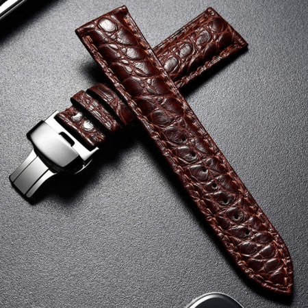 Alligator Leather Bands Straps for iWatch - Brown