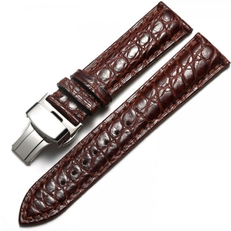Alligator Leather Bands Straps for iWatch - Brown color with Silver Adapter