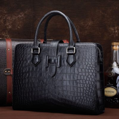 Alligator Leather Briefcase Laptop Business Messenger Bag-Display