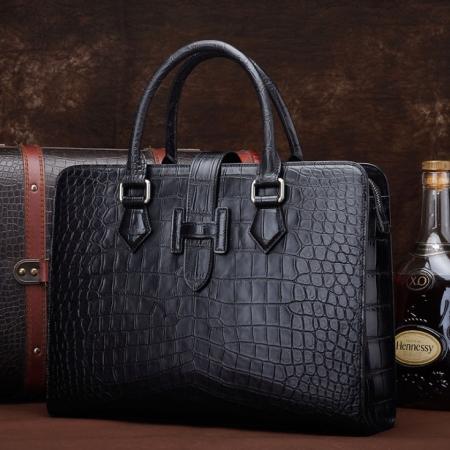 Alligator Leather Briefcase Laptop Business Messenger Bag-Display