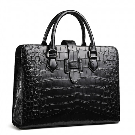 Alligator Leather Briefcase Laptop Business Messenger Bag-Front-Display