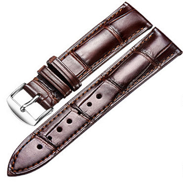 Apple Watch Alligator Leather Band Brown with Silver Adapter