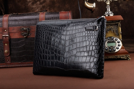 Business Alligator Clutch Wallet with Removable Hand Strap-Black-Back