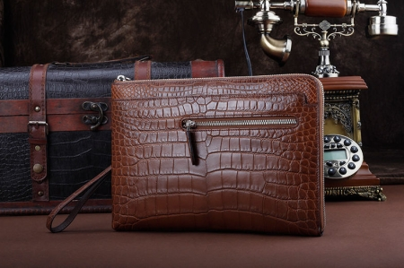 Business Alligator Clutch Wallet with Removable Hand Strap-Brown-Front