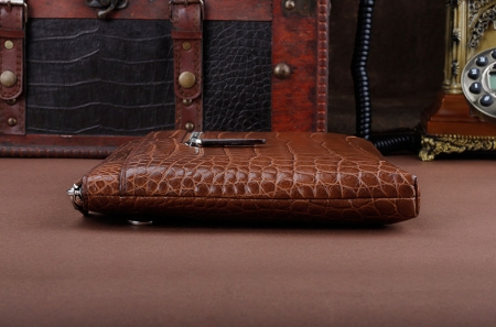 Business Alligator Clutch Wallet with Removable Hand Strap-Brown-Side