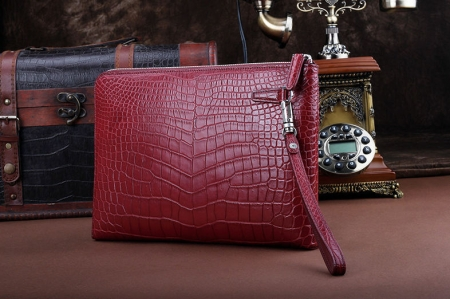 Business Alligator Clutch Wallet with Removable Hand Strap-Wine Red-Back