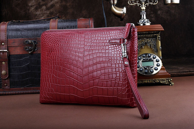 Business Alligator Clutch Wallet With Removable Hand Strap