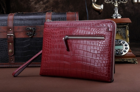 Business Alligator Clutch Wallet with Removable Hand Strap-Wine Red-Front
