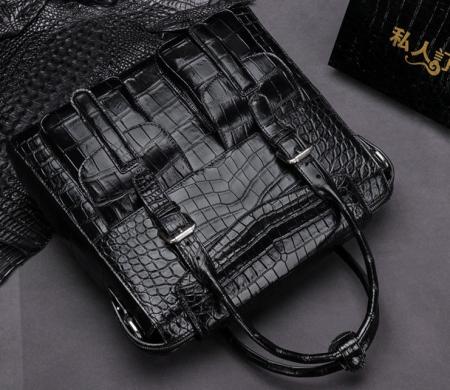 Casual Alligator Leather Crossbody Shoulder Messenger Bag Handbag-Black-1
