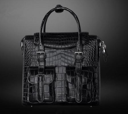 Casual Alligator Leather Crossbody Shoulder Messenger Bag Handbag-Black