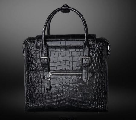Casual Alligator Leather Crossbody Shoulder Messenger Bag Handbag-Black-Back