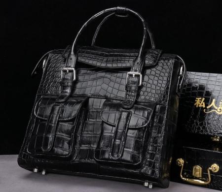 Casual Alligator Leather Crossbody Shoulder Messenger Bag Handbag-Black-Display