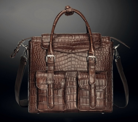 Casual Alligator Leather Crossbody Shoulder Messenger Bag Handbag-Brown-Front