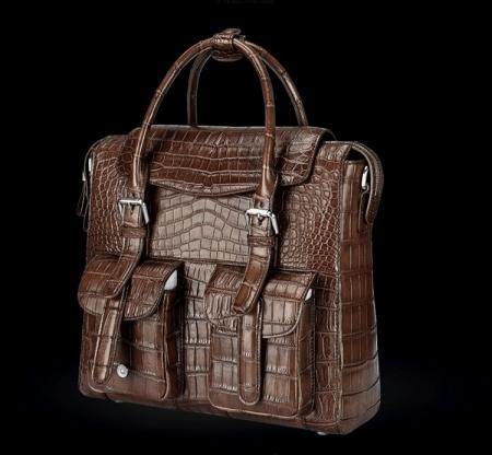 Casual Alligator Leather Crossbody Shoulder Messenger Bag Handbag-Brown-Side