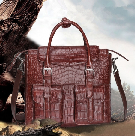 Casual Alligator Leather Crossbody Shoulder Messenger Bag Handbag-Wine Red-Display