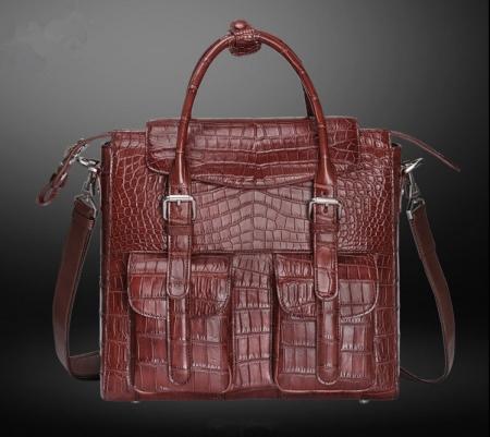 Casual Alligator Leather Crossbody Shoulder Messenger Bag Handbag-Wine Red-Front