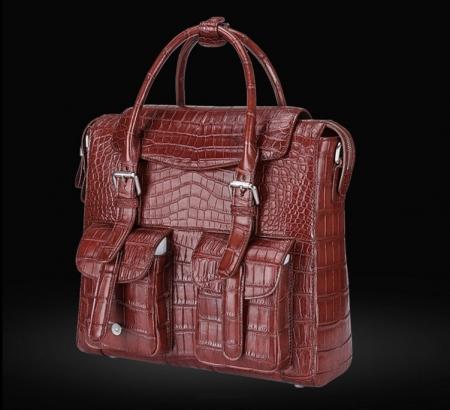 Casual Alligator Leather Crossbody Shoulder Messenger Bag Handbag-Wine Red-Side