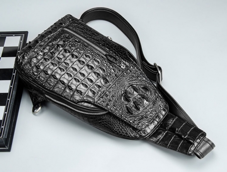 Casual Crocodile Sling Bag Chest Pack Crossbody Shoulder Bag-Black