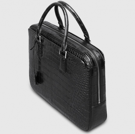 Classic Alligator Leather Briefcase Business Work Bag-Black-1