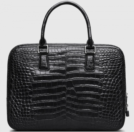 Classic Alligator Leather Briefcase Business Work Bag-Black-Back