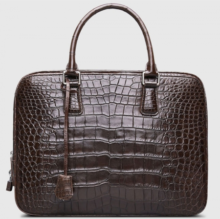 Classic Alligator Leather Briefcase Business Work Bag-Brown