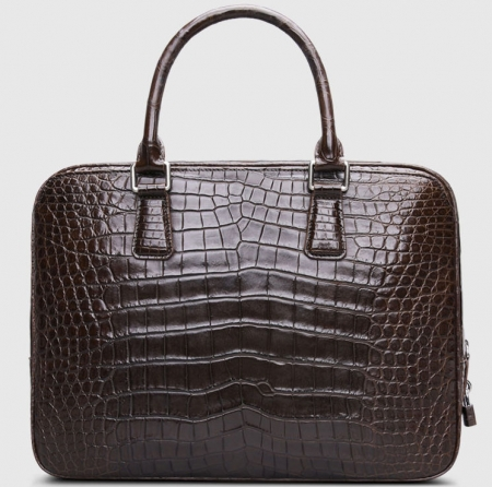 Classic Alligator Leather Briefcase Business Work Bag-Brown-Back