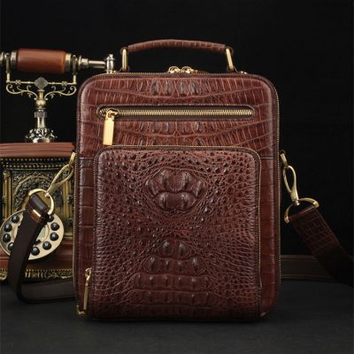 Crocodile Leather Shoulder Bag Messenger Briefcase CrossBody Handbag