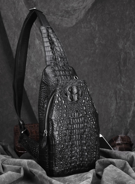 Crocodile Sling Backpack One Strap Travel Sport Crossbody Bag-Black