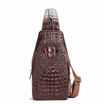 Crocodile Sling Backpack One Strap Travel Sport Crossbody Bag