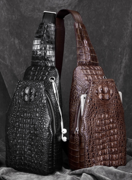 Crocodile Sling Backpack One Strap Travel Sport Crossbody Bag-Display
