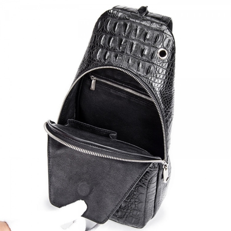 Crocodile Sling Backpack One Strap Travel Sport Crossbody Bag-Inside