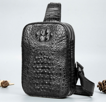 Crocodile Sling Bag, Alligator Sling Bag-Black