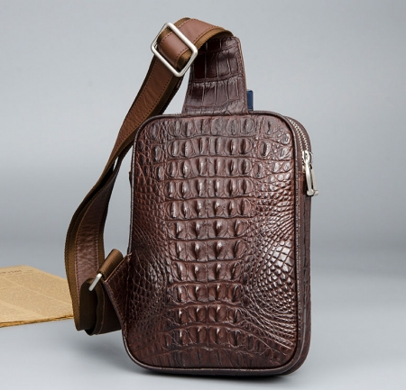Crocodile Sling Bag, Alligator Sling Bag-Brown-Back