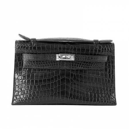 Exquisite Alligator Handbag, Alligator Evening Bag-Black