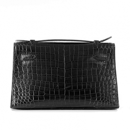 Exquisite Alligator Handbag, Alligator Evening Bag-Black-Back