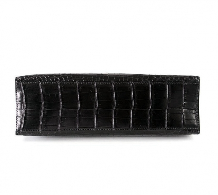 Exquisite Alligator Handbag, Alligator Evening Bag-Black-Bottom