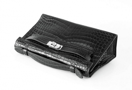 Exquisite Alligator Handbag, Alligator Evening Bag-Black-Handle