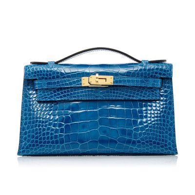 Exquisite Alligator Handbag, Alligator Evening Bag-Blue