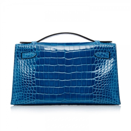 Exquisite Alligator Handbag, Alligator Evening Bag-Blue-Back