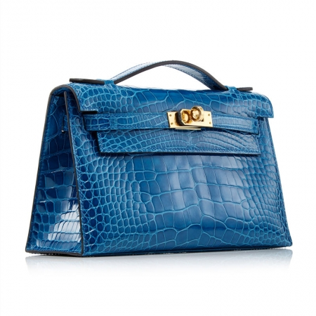 Exquisite Alligator Handbag, Alligator Evening Bag-Blue-Side