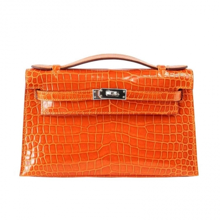 Exquisite Alligator Handbag, Alligator Evening Bag-Orange