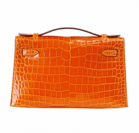 Exquisite Alligator Handbag, Alligator Evening Bag-Orange-Back