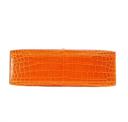 Exquisite Alligator Handbag, Alligator Evening Bag-Orange-Bottom