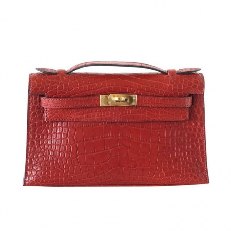 Exquisite Alligator Handbag, Alligator Evening Bag-Red