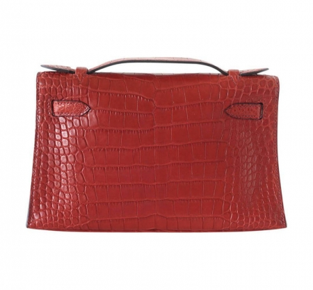 Exquisite Alligator Handbag, Alligator Evening Bag-Red-Back