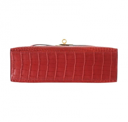 Exquisite Alligator Handbag, Alligator Evening Bag-Red-Bottom